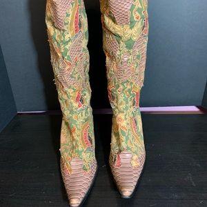 Funky Vintage European Cowboy Boots - 8